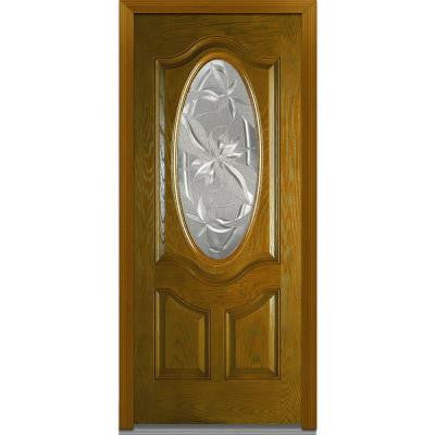 36 in. x 80 in. Lasting Impressions Decorative Glass 3/4 Oval Lite 2-Panel Finished Oak Fiberglass Prehung Front Door
