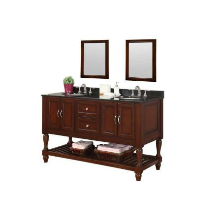 Mission Turnleg 60 in. Vanity in Dark Brown with Granite Vanity Top in Black and Mirrors
