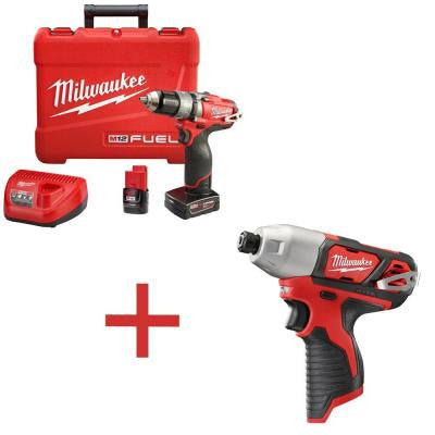 M12 FUEL 12-Volt Lithium-Ion Cordless Brushless Hammer Drill and Driver Kit with M12 1/4 in. Hex Impact (Tool-Only)
