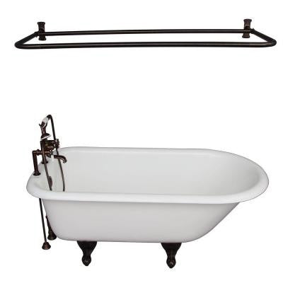 5.6 ft. Cast Iron Roll Top Bathtub Kit in White with Oil Rubbed Bronze Accessories