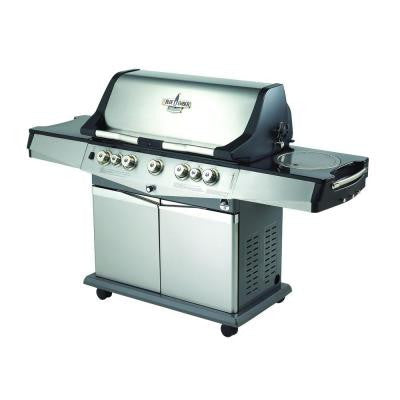 Professional 5-Burner Stainless Steel Natural Gas Grill with Side Burner and Infrared Rear Burner