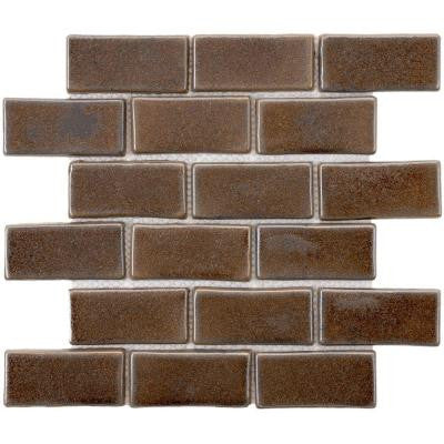 Cobble Subway Noce 12 in. x 12 in. x 12 mm Ceramic Mosaic Floor and Wall Tile