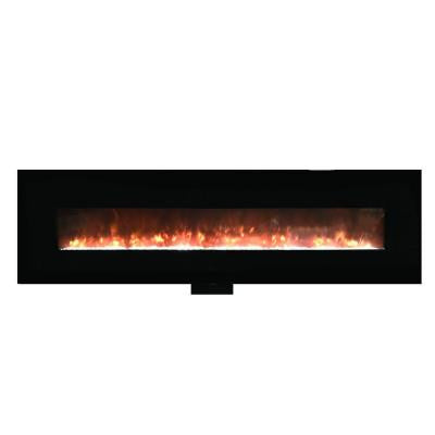 95 in. Wall-Mount Electric Fireplace in Black