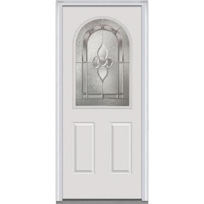 32 in. x 80 in. Master Nouveau Decorative Glass 1/2 Lite 2-Panel Primed White Steel Prehung Front Door