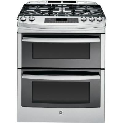 Profile 6.7 cu. ft. Slide-In Double Oven Gas Range with Self-Cleaning Convection Oven in Stainless Steel