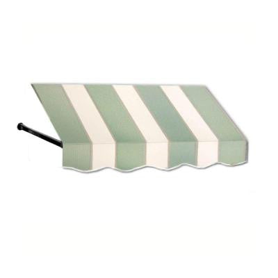8 ft. Dallas Retro Window/Entry Awning (44 in. H x 36 in. D) in Olive / Tan Stripe
