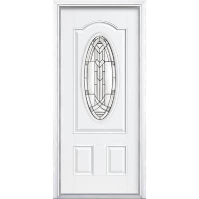 36 in. x 80 in. Chatham 3/4 Oval Lite Primed Steel Prehung Front Door with Brickmold