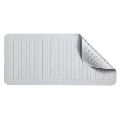13-7/8 in. x 29-5/8 in. Ridges Rubber Bath Mat in White