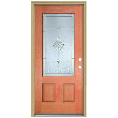 36 in. x 80 in. Rosemont 3/4 Lite Unfinished Mahogany Wood Prehung Front Door with Brickmould and Brass Caming