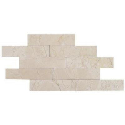 Brushed Crema Marfil Marble Mosaic Tile - 2 in. x 8 in. Tile Sample