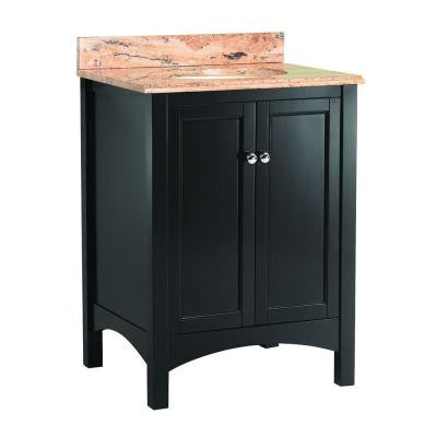 Haven 25 in. W x 22 in. D Vanity in Espresso with Vanity Top and Stone Effects in Bordeaux