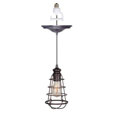 1-Light Brushed Bronze Instant Pendant Conversion Kit and Wire Cage Shade