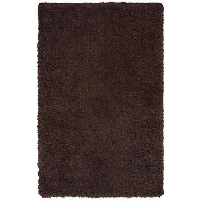 Senses Shag Tri-Chocolate 7 ft. 9 in. x 9 ft. 9 in. Plush Indoor Area Rug