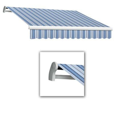 8 ft. Maui-LX Left Motor Retractable Acrylic Awning with Remote (84 in. Projection) in Blue Multi