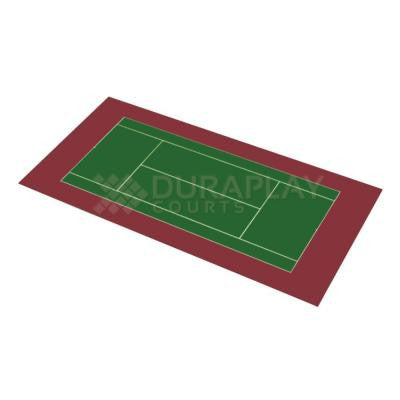 51 ft. x 99 ft. 11 in. Slate Green and Burgundy Full Tennis Court Kit