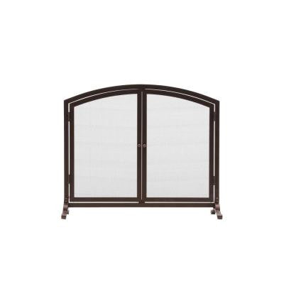 Emberly Brown 1-Panel Fireplace Screen with Doors