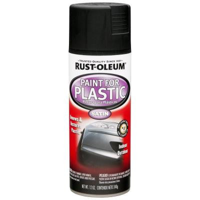 12 oz. Black Satin Spray Paint for Plastic (Case of 6)