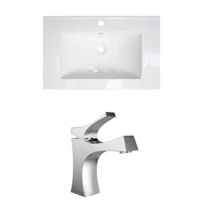 21 in. W x 18 in. D Ceramic Vanity Top Set with Basin in White with Single Hole cUPC Faucet