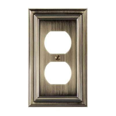 Continental 1 Duplex Wall Plate - Brushed Brass
