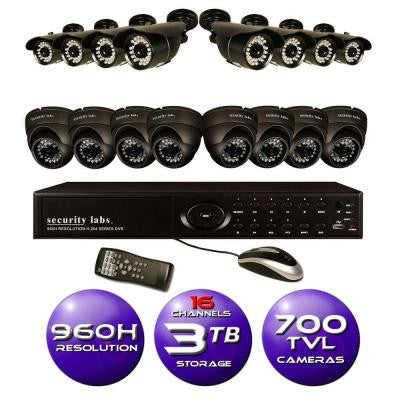 16-Channel 960H Surveillance System with 3TB HDD and (16) 700 TVL Cameras