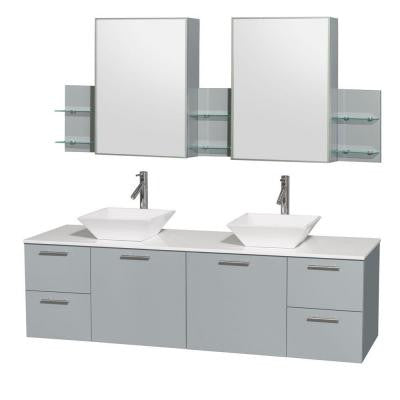 Amare 72 in. W x 22.25 in. D Vanity in Dove Gray with Solid-Surface Vanity Top in White with White Basins and Cab Mirror