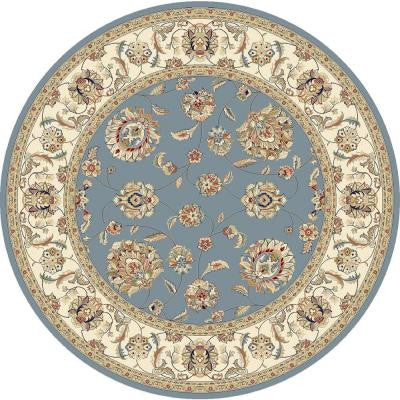 Judith Light Blue/Ivory 7 ft. 10 in. x 7 ft. 10 in. Round Indoor Area Rug