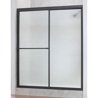 Tides 56 in. to 60 in. x 70 in. H Framed Sliding Shower Door in Silver and Obscure Glass