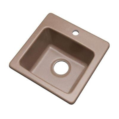 Westminster Dual Mount Composite Granite 16 in. 1-Hole Single Bowl Bar Sink in Natural
