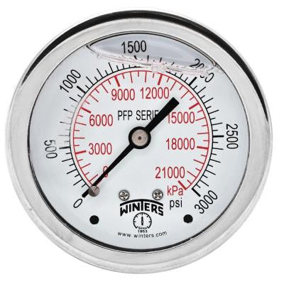 PFP Series 2.5 in. Stainless Steel Liquid Filled Case Pressure Gauge with 1/4 in. NPT CBM and Range of 0-3000 psi/kPa