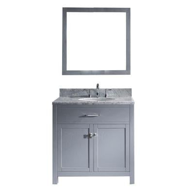 Caroline 36 in. Vanity in Grey with Marble Vanity Top and Mirror in Italian Carrara White