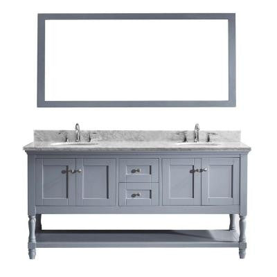 Julianna 72 in. Double Round Basins Vanity in Grey with Marble Vanity Top in White and Mirror