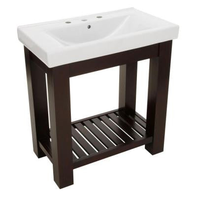 Lexi 31.5 in. W x 18 in. D Vanity in Dark Oak with Vitreous China Vanity Top in White