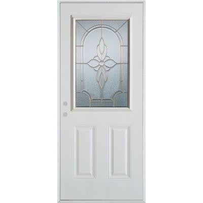 36 in. x 80 in. Traditional Zinc 1/2 Lite 2-Panel Prefinished White Right-Hand Inswing Steel Prehung Front Door