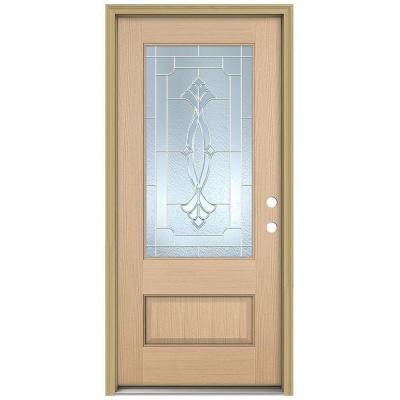 36 in. x 96 in. Champagne 3/4 Lite Unfinished Hemlock Wood Prehung Front Door with Brickmould and Zinc Caming