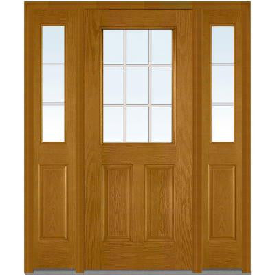 60 in. x 80 in. Classic Clear Glass GBG 1/2 Lite Finished Oak Fiberglass Prehung Front Door with Sidelites