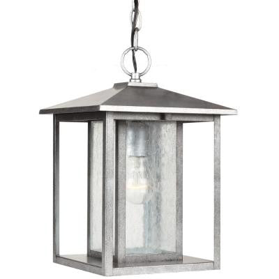 Hunnington 1-Light Outdoor Weathered Pewter Hanging Pendant Fixture
