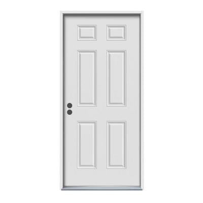32 in. x 80 in. 90 Minute Fire Rated 6-Panel Primed White Steel Prehung Commercial Door