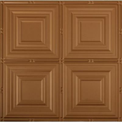 Dimensions 2 ft. x 2 ft. Aged Copper Lay-in Tin Ceiling Tile for T-Grid Systems