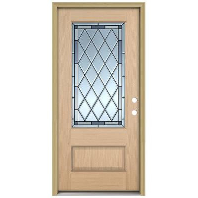 36 in. x 96 in. Firethorne 3/4 Lite Unfinished Hemlock Wood Prehung Front Door with Brickmould and Patina Caming