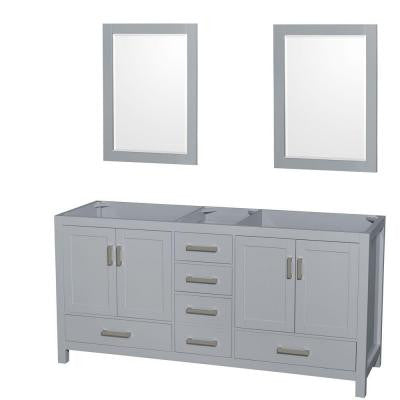 Sheffield 72 in. W x 22 in. D Vanity Cabinet with Mirrors in Gray