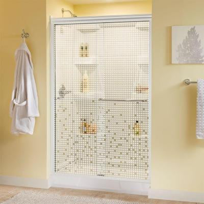 Simplicity 48 in. x 70 in. Semi-Framed Sliding Shower Door in White with Mosaic Glass and Chrome Hardware