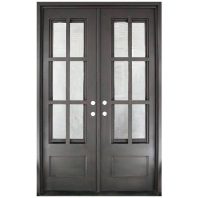 62 in. x 97.5 in. Craftsman Classic Decorative 3/4 Lite Painted Oil Rubbed Bronze Wrought Iron Prehung Front Door