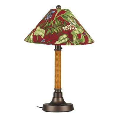 Bahama Weave 34 in. Mocha Cream Outdoor Table Lamp with Lacquer Shade