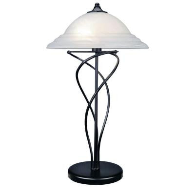 28 in. Black Table Lamp with Cloud Glass Shade