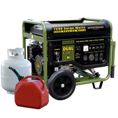 7,500-Watt Dual Fuel Generator with Electric Start and Runs on LPG or Regular Gasoline