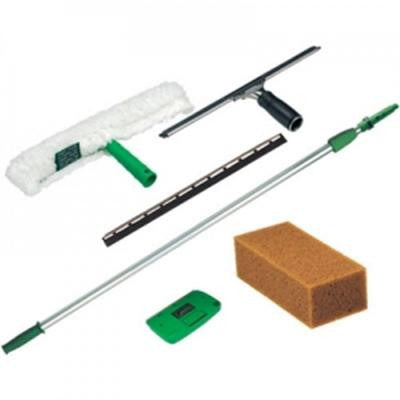 Pro Window Cleaning Kit: 8 ft. Pole, Strip Washer, Squeegee, Scraper, Sponge (5-Piece)