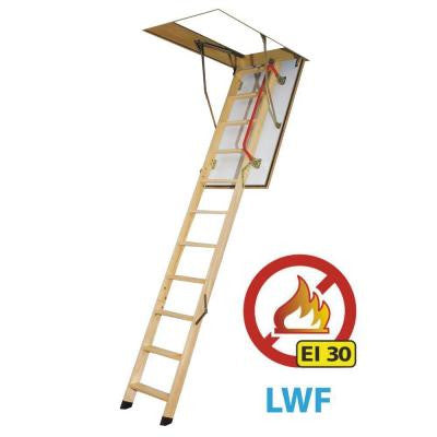 10 ft., 22.5 in. x 54 in. Fire Rated Insulated Wood Attic Ladder with 300 lb. Load Capacity Type IA Duty Rating