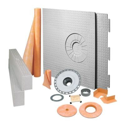 Kerdi 32 in. x 60 in. PVC Off-Center Tileable Covering Shower Kit