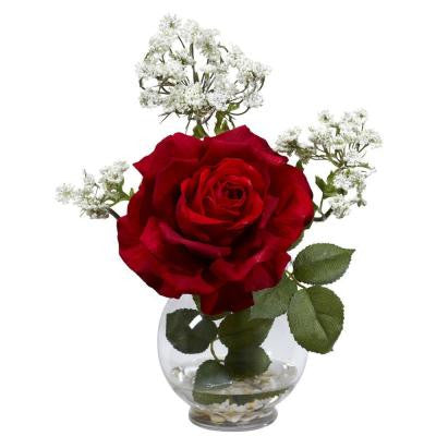13 in. H Red Rose and Gypso with Fluted Vase Silk Flower Arrangement
