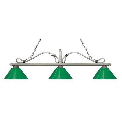 Gentry 3-Light Antique Silver Island Light with Green Shades